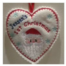 1st Christmas Santa Heart