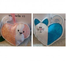 Cat and Dog flip hearts set