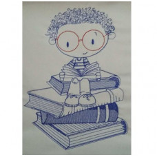 Curly Hair Book Sitter Boy