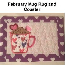 February Mug Rug and Coaster