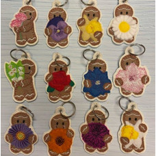 Ginger Birth Month Flowers Key Charms Complete Set