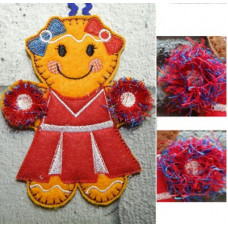 Ginger cheerleader with pom poms