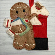 Ginger Christmas Post with Fringed Scarf
