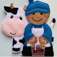 Ginger Dairy Farmer and Cow