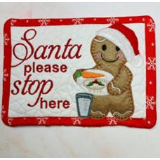 Ginger Santa Plate Mug Rug and Hanger