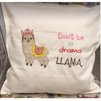 Llama with fringe blanket and verse