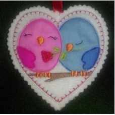 Love Bird Applique Hearts
