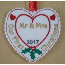 Mr & Mrs First Christmas Heart