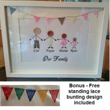 Original Button Stick Family - With free standing bunting