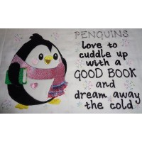 Reading Penguin with Fringed Scarf