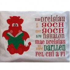 Red Reading Dragon with Welsh Verse